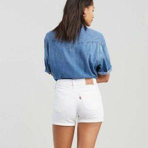 Levis White Distressed Mid Length Denim Shorts